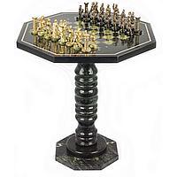 """Шахматный стол из камня, фигуры бронза """"Римляне"""" 60х60х62см"""