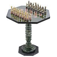 "Шахматный стол из камня, фигуры бронза ""Римские"" на подставках, 63х58х58см"
