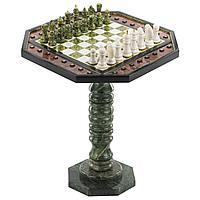 Шахматный стол с каменными фигурами, мрамор змеевик 58х58х64см