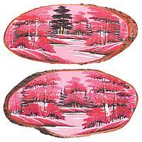 Картина на дереве Закат горизонтальное 70х75см