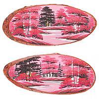 Картина на дереве Закат горизонтальное 75х80см