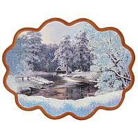Панно «Домик в зимнем лесу» (34х26 см)