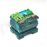 Шкатулка с расписной крышкой 7,5х6х6 см