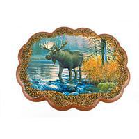 Панно «Лось в реке» (25х19 см)