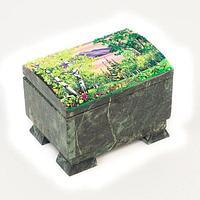 Шкатулка с расписной крышкой «Сундучок» 12х8х8 см
