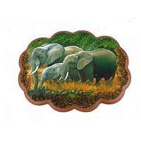 Панно «Слоны на водопое» (25х19 см)