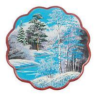 Панно «Зимний пейзаж» круглое (36х36 см)