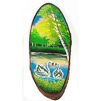 Картина для интерьера на дереве Два лебедя 75х80см