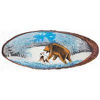 Картина на дереве Охота на медведя горизонтальное 80х85см