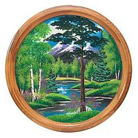Панно на тарелке «Летний пейзаж» (вариант 2), D-60см