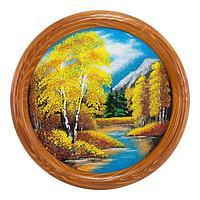 Панно на тарелке «Осенний пейзаж» D-40см