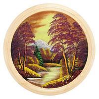 Панно на тарелке «Осенний пейзаж» (вариант 2), D-50см