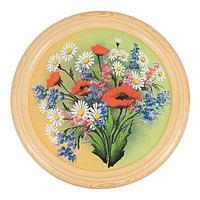 Панно на тарелке «Полевые цветы» (вариант 2), D-40см