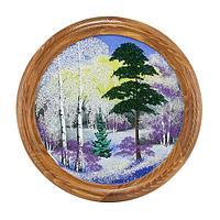Панно на тарелке «Зимний пейзаж» (вариант 2), D-40см