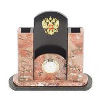 Часы «Герб» креноид змеевик 195х80х170 мм.