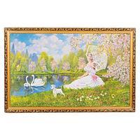 Картина «Девушка с собачкой», багет - 60х100 см.