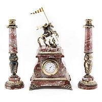 Часы «Георгий Победоносец» с подсвечниками