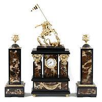 Часы «Георгий Победоносец» с подсвечниками, камень яшма долерит