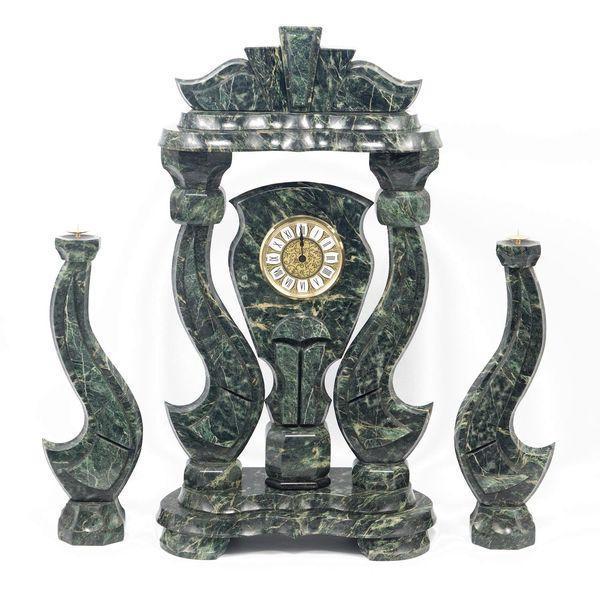 Часы «Корона» большая с подсвечниками змеевик - фото 1