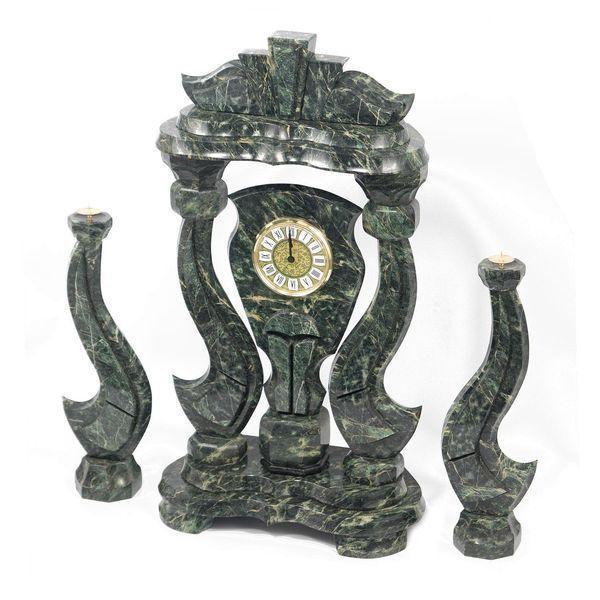 Часы «Корона» большая с подсвечниками змеевик - фото 2