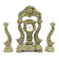 Часы «Корона» с подсвечниками змеевик
