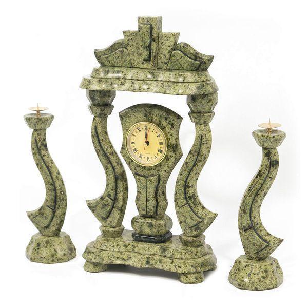 Часы «Корона» с подсвечниками змеевик (вариант 2) - фото 1