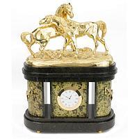 Интерьерные часы «Кони на воле» змеевик