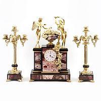 Каминные часы «Амур и Психея» с канделябрами, камень яшма