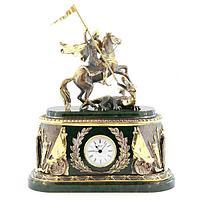 Каминные часы «Георгий Победоносец», камень нефрит
