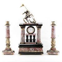 Каминные часы «Георгий Победоносец» с подсвечниками