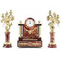 Каминные часы с канделябрами «Колибри» (вариант 2), яшма