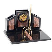 Настольный набор «Герб», камень креноид