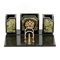 Настольный набор «Герб», камень змеевик