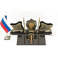 Настольный набор «Герб» офиокальцит змеевик 420х265х140 мм.