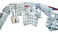 Торговые  и  складские стеллажи, витрины,  металлическая мебель