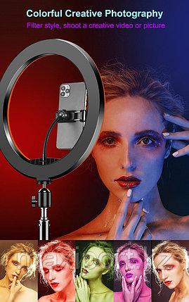 Кольцевой селфи свет 33см RGB все цвета со штативом до 210см, фото 2