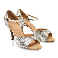 Туфли бальные женские сатин BEATRIZ BR31019GL Sansha Цвет Серебро Размер 10