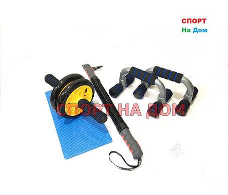 Набор для фитнеса Sunlin 3 в 1 упоры для отжиманий, гимнастический ролик и пружинный эспандер, фото 2