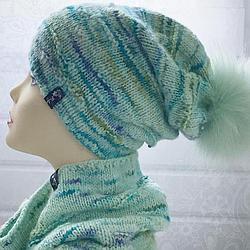 Комплект шапка и снуд ментоловый (размер шапки 54-56)