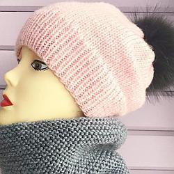 Комплект шапка и снуд розово-серый (размер шапки 54-56)