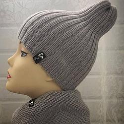 Комплект шапка и снуд серый (размер шапки 52-56)