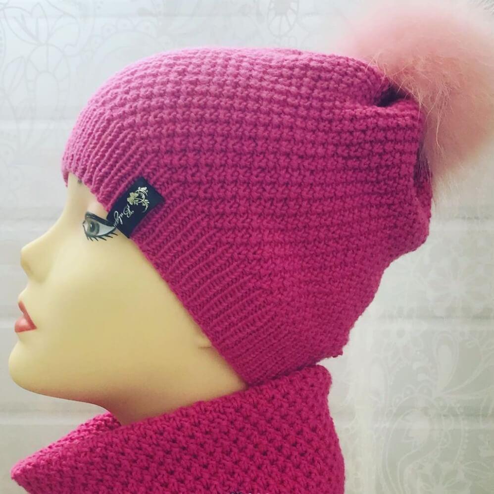 Комплект шапка и снуд ярко-розовый (размер шапки 52-56)