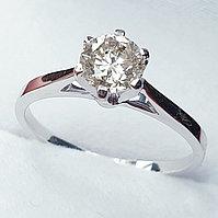 Золотое кольцо с бриллиантом 0,65Сt SI2/M EX-Cut, фото 1