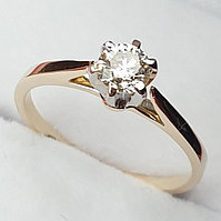 Золотое кольцо с бриллиантом 0,32Сt VS2/G EX-Cut, фото 1