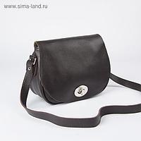 Сумка женская, отдел на клапане, наружный карман, длинный ремень, цвет коричневый