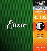 Комплект струн для бас-гитары, нерж.сталь, Medium, 45-105, Elixir 14677 NANOWEB