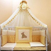 Комплект в кроватку БАЛУ МИШУТКА крем(желтый) балд. 4,5м борт 3-х сторон, 8 предметов