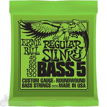 Комплект струн для 5-струнной бас-гитары, 45-130, никель, Ernie Ball P02836 Regular Slinky Bass