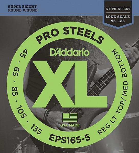 Комплект струн для 5-струнной бас-гитары, Custom Light, 45-135, D'AddarioEPS165-5 ProSteels