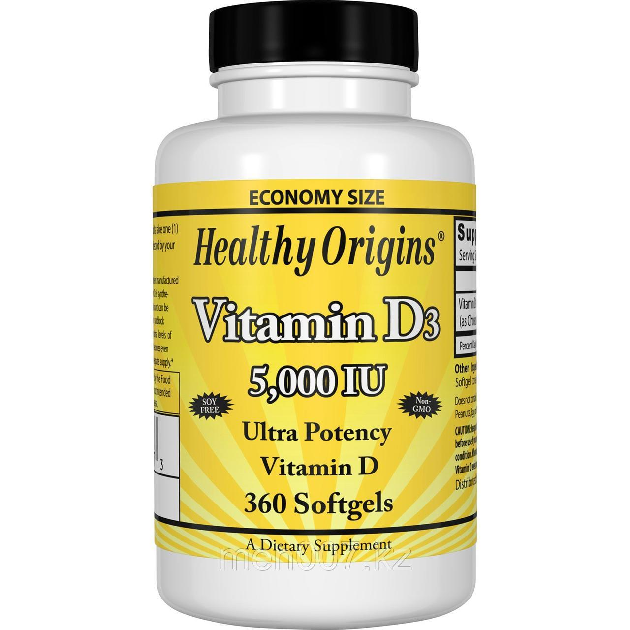 БАД Витамин D3, 5000 IU (360 капсул) Healthy origins